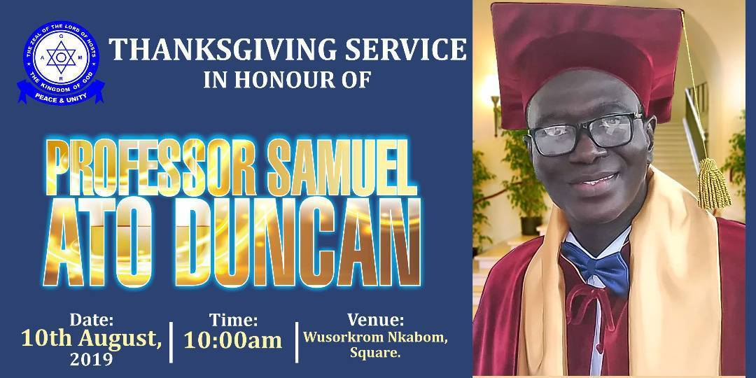 THANKSGIVING SERVICE IN HONOUR OF PROF.DR.SAMUEL ATO DUNCAN